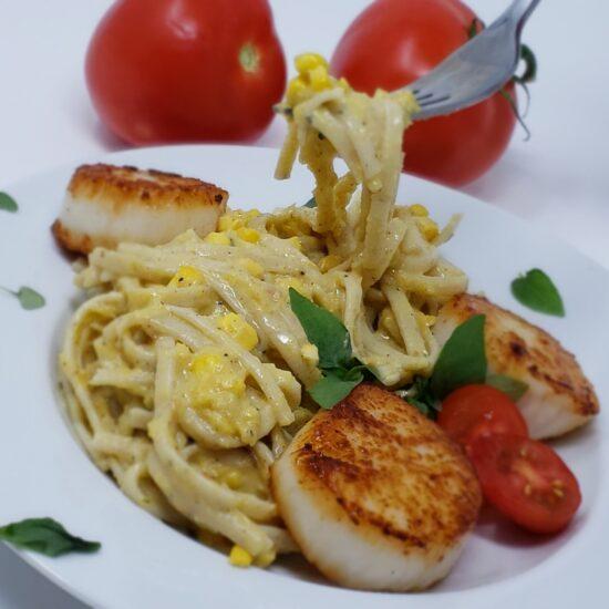 Lemon Corn Pasta with Fork