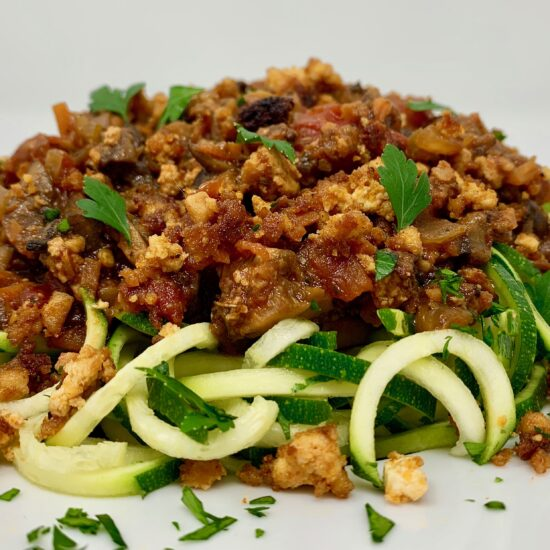 Mushroom Bolognese Zucchini Noodles