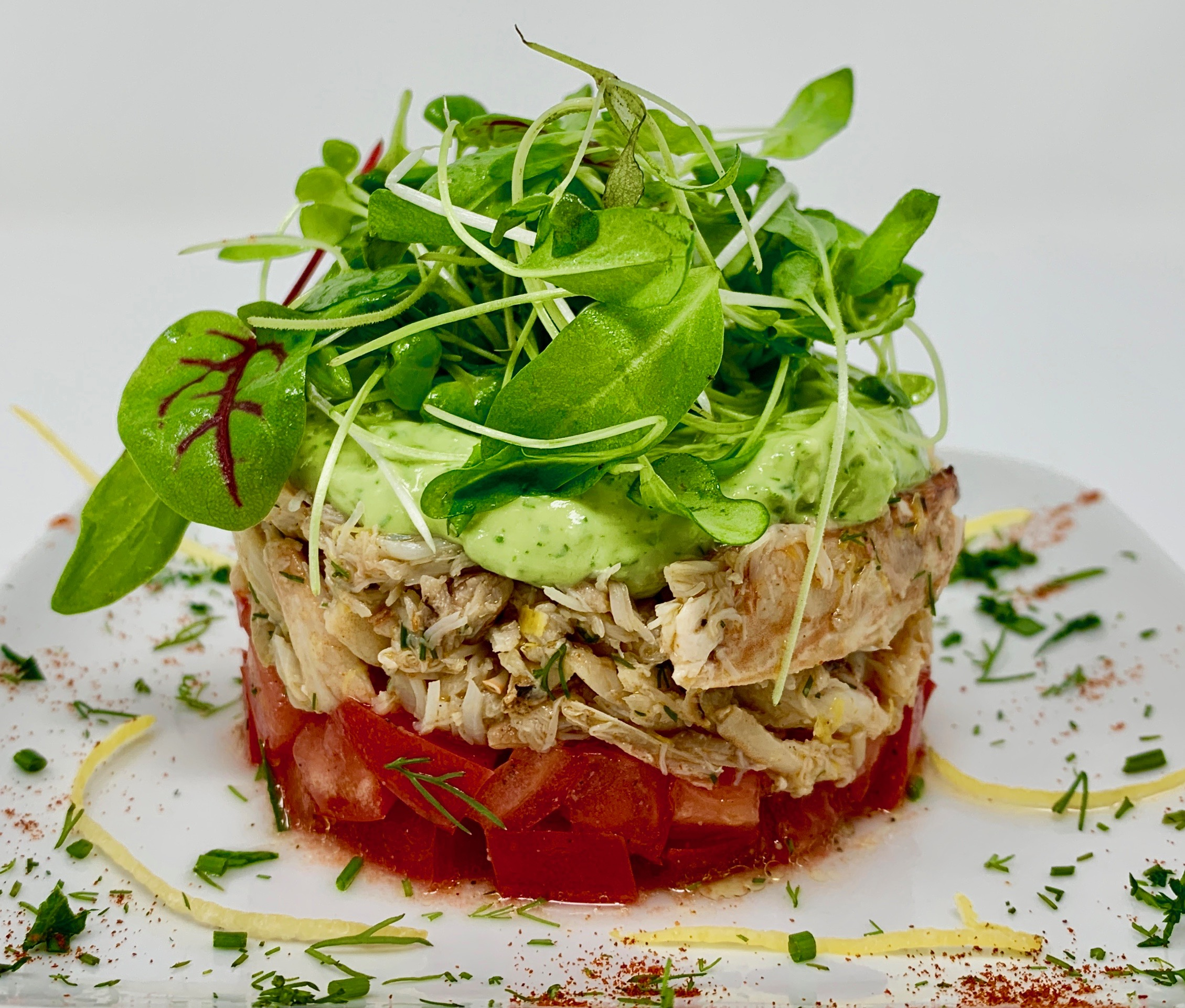 Crab Avocado Microgreen Tomato