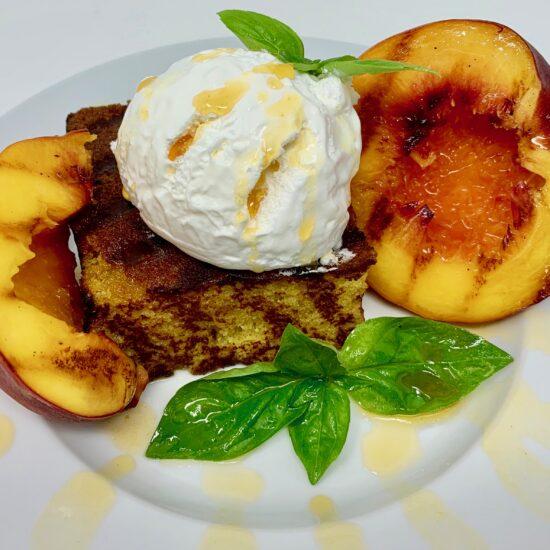 Grilled Lemon Cake & Peaches